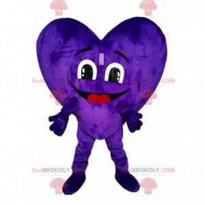 Fioletowy aksamitny maskotka serce. Kostium serca -
