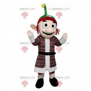 Koboldmaskottchen mit einem roten und grünen Hut -