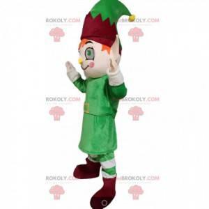 Leprechaun-maskot med et grønt og burgunder-antrekk -