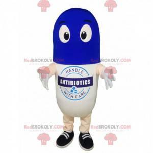 White and blue pill mascot. - Redbrokoly.com