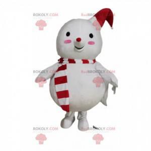 Mascotte del pupazzo di neve con un cappello rosso e bianco -