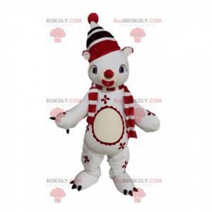 Mascotte pupazzo di neve con un cappello rosso con pompon -