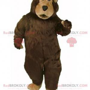Hnědý a béžový medvěd maskot všechny chlupaté - Redbrokoly.com