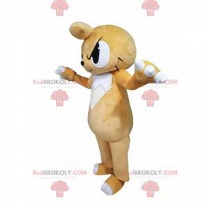 Beige cat mascot with a threatening look - Redbrokoly.com