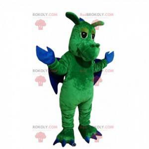 Zelený drak maskot s modrými křídly - Redbrokoly.com