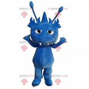 Kleines blaues Monstermaskottchen mit Antennen - Redbrokoly.com