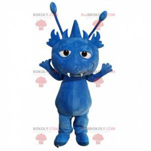 Maskot modré monstrum s anténami - Redbrokoly.com