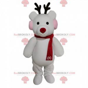 Mascotte della renna bianca con una sciarpa rossa -