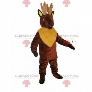 Maskot hnědého jelena se žlutou srstí - Redbrokoly.com