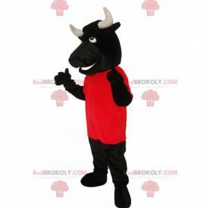 Mascote do touro preto com uma camisa vermelha - Redbrokoly.com