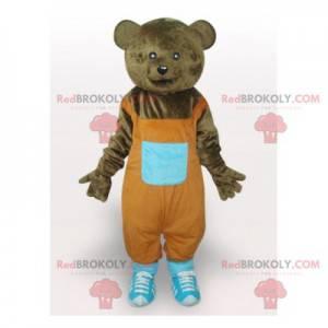 Brown bear mascot with orange overalls - Redbrokoly.com