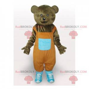 Medvěd hnědý maskot s oranžovou kombinézu - Redbrokoly.com