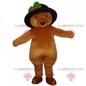 Maskotka niedźwiedź brunatny w czarnym kapeluszu -