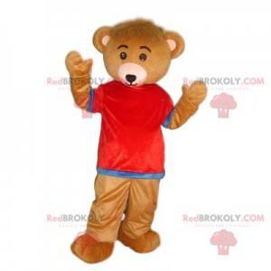 Velmi roztomilý medvěd hnědý maskot s červeným a modrým dresem