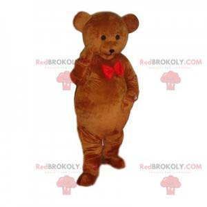 Brown bear mascot with a red bow tie - Redbrokoly.com