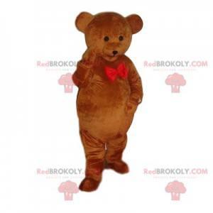 Maskotka niedźwiedź brunatny z czerwoną muszką - Redbrokoly.com