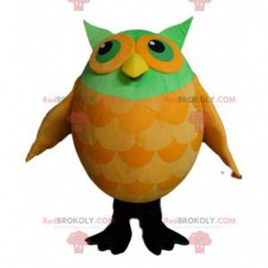 Maskot zelené a žluté sovy - Redbrokoly.com