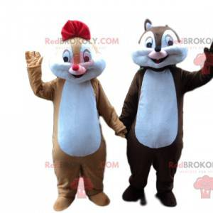 Brown und Karamell Eichhörnchen Maskottchen Paar -
