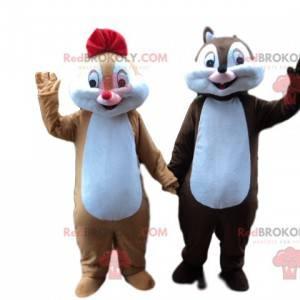 Bruin en karamel mascotte paar eekhoorn - Redbrokoly.com