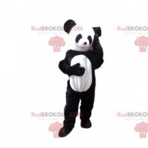 Mascote do panda muito sorridente. Traje de panda. -