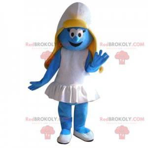 Smurfette mascot with a ruffled white dress - Redbrokoly.com