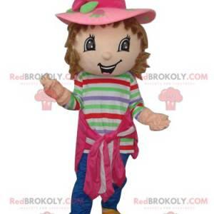 Strawberry Charlotte maskot med en smuk lyserød hat -