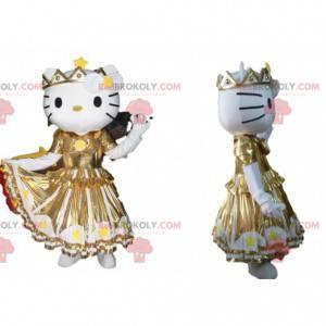Mascotte Hello Kitty met een gouden jurk met ruche -