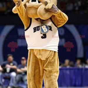 Brown bulldog dog mascot in sportswear - Redbrokoly.com