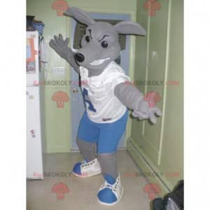 Šedý klokan maskot v modré a bílé oblečení - Redbrokoly.com