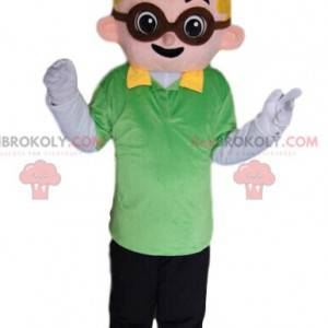 Maskottchen kleiner blonder Junge mit Brille - Redbrokoly.com