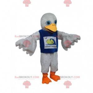 Maskot bílého ptáka s modrým dresem - Redbrokoly.com