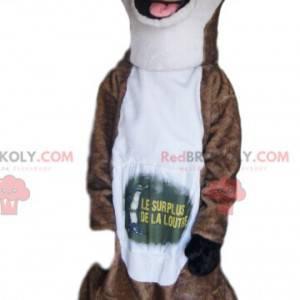 Mascote de lontra marrom e branca com um sorriso enorme -