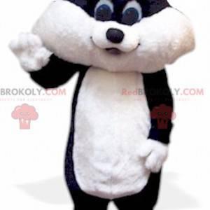 Černá a bílá kočka kotě maskot - Redbrokoly.com