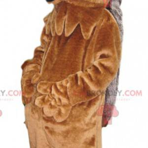 Veldig smilende grå og brun pinnsvin maskot - Redbrokoly.com