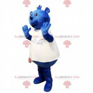 Baculatý medvěd maskot s bílým dresem - Redbrokoly.com