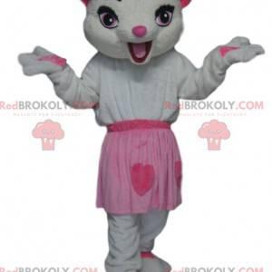 Biały kot maskotka z różową spódnicą - Redbrokoly.com