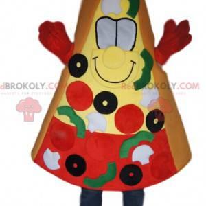 Mascota de rebanada de pizza con aceitunas, tomates y pimientos