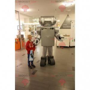 Very realistic metallic gray robot mascot - Redbrokoly.com