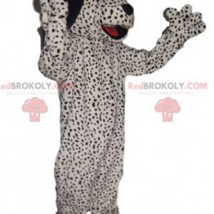 Černý skvrnitý bílý pes maskot - Redbrokoly.com