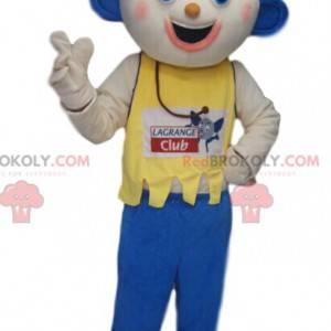 Lustiges Schneemannmaskottchen mit blauen Ohren - Redbrokoly.com
