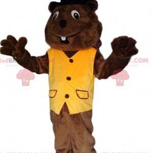 Bever mascotte met een geel vest en een zwarte hoed -