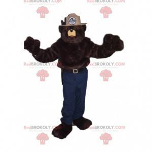 Brown bear mascot with a beige sheriff hat - Redbrokoly.com