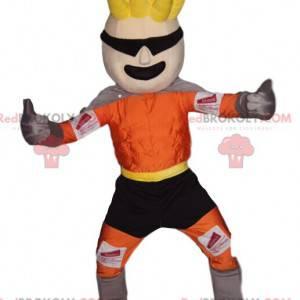 Mascotte bionda del supereroe con un'acconciatura divertente -