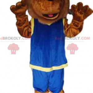 Maskot hnědý lev s modrým sportovním oblečením - Redbrokoly.com