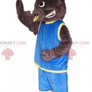 Mascotte del toro con un anello e una maglia blu -