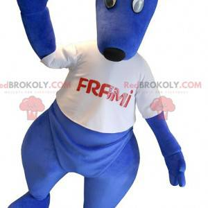 Blue kangaroo mascot with a white t-shirt - Redbrokoly.com