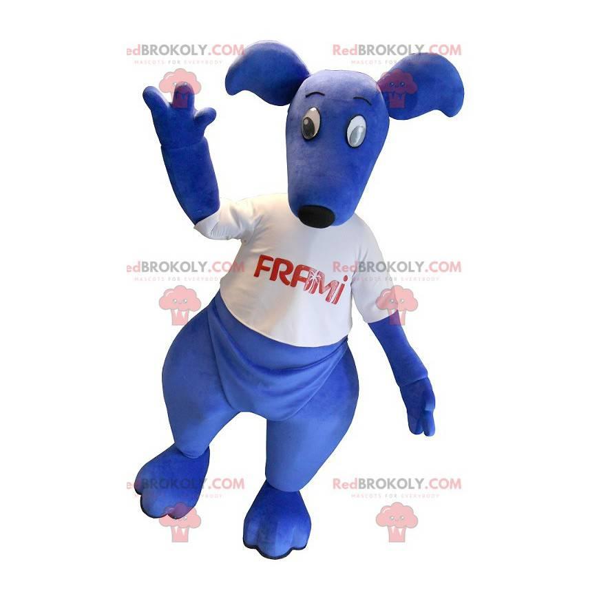 Niebieska maskotka kangur z białą koszulką - Redbrokoly.com