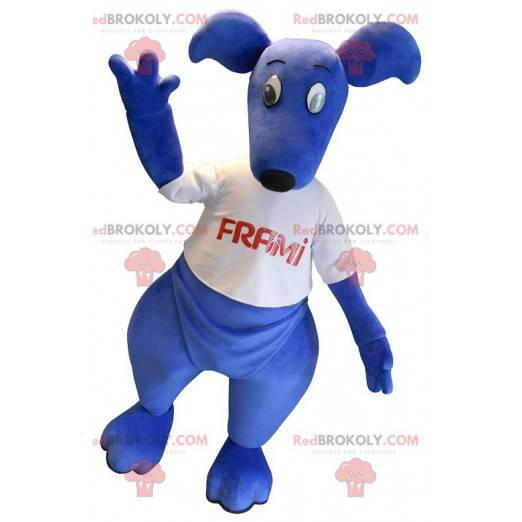 Blaues Känguru-Maskottchen mit einem weißen T-Shirt -
