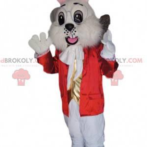 Maskot bílého králíka s červenou bundou a zlatou vestou -