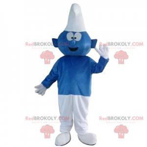 Mascote Schtroumph azul e branco muito entusiasmado -